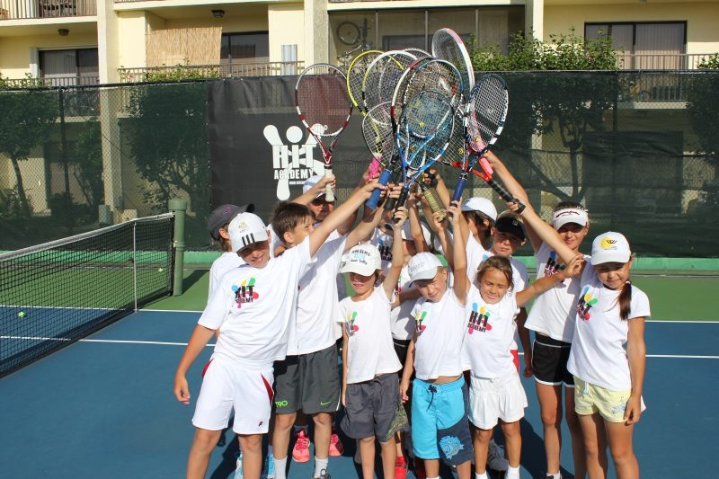 Tennis Training kids with their racquet